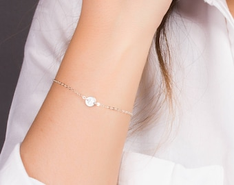 Sterling Silver Initial Bracelet • Dainty Initial Bracelet in Sterling Silver • Silver Personalized Bracelet • Tiny Disc Bracelet   0088-2BM