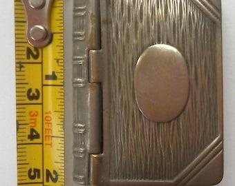 Vintage Metal Book Vesta Stamp Case