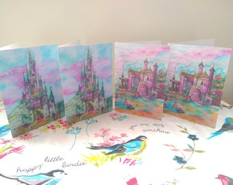 Sleeping Beauty's Castle / Mermaid's Castle Cards - A5 4 pack