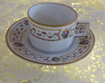 Antique Demitasse Cup And Saucer, Krautheim, Selb, Bavaria, Pink Roses, Gold Trim