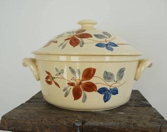 Soupière ancienne, Digoin Sarreguemines, motif floral, soup tureen, French vintage
