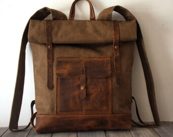 Canvas backpack bags, leather rucksack, waxed canvas school laptop bags, canvas college bags, Light Coffee canvas and genuine leather