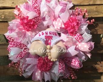 Baby Girl Wreath, Baby Girl Deco Mesh Wreath, Baby Girl Mesh Wreath, Baby Wreath, Baby Boy Wreath, Infant Wreath, Personalized Baby Wreath