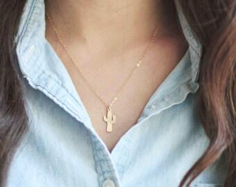Tiny Cactus Necklace | Brass Cactus Necklace | Gold Cactus Necklace | Sterling Silver Cactus Necklace | Cactus Jewelry | Cactus Pendant