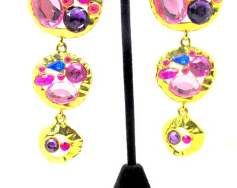Vintage Park Lane Chunky Pink Rhinestone Drop Earrings