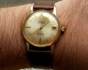 Old Versa- Ernst Wamsler automatic,gilding model from 1960s with Forster 197 movement with 25 jewels
