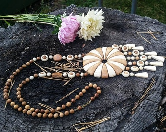 African Necklace, Wooden Necklace, Large Bib Necklace, Natural Wood Jewelry