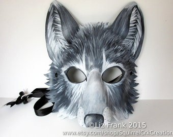Wolf Mask, Animal mask, Leather mask, Gray wolf, Grey wolf, Fursona, Halloween, LARP,  Mardi Gras, Halloween, Cosplay, Fantasy mask