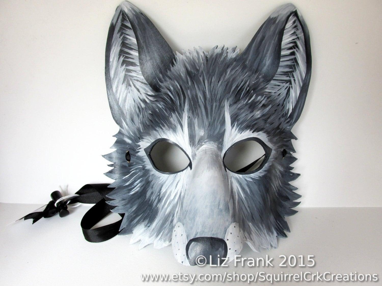 Wolf Mask Animal mask Leather mask Gray wolf Grey wolf Fursona Halloween LARP Mardi Gras Halloween Cosplay Fantasy mask & Wolf Mask Animal mask Leather mask Gray wolf Grey wolf Fursona ...