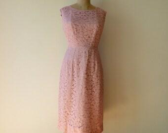 "Vintage Pink Lace Sheath Dress /1950's Pink Lace Wiggle Dress/Pink Lace Illusion Dress/Bridal Party Dress/30"" Waist/Medium"