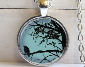 Raven In Tree Art Pendant, Photo Pendant, Raven Necklace