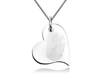 Fingerprint Necklace, Fingerprint Silver Necklace, Custom Heart Necklace, Gold Heart Pendant, Fingerprint Silver Pendant