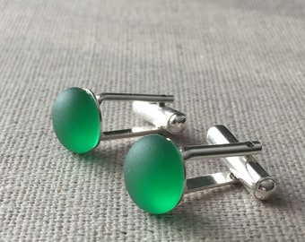 Green Vintage Sea Glass Sterling Silver Cuff Links. Matching Earrings Available. Father's Day Gift Idea. Father Daughter Set. Wedding Set