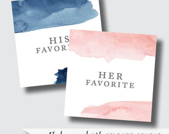 Blush favor labels, navy favor stickers, blush and navy wedding stickers, his and her favorite, custom stickers, custom labels pink and navy