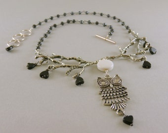 Moon Over Owl Silver Branch Necklace with Agate and Onyx Stone with Black Spinel Stone Chain