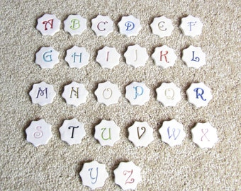 Letter Buttons Handmade Stoneware Initial Shank Buttons