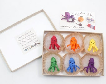 Miniature Crochet Amigurumi Rainbow Octopi Magnet Set of Six Miniature Crochet Amigurumi Keychain Miniature Crochet Animals Crochet Magnet
