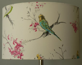 Handmade 'Chirpy' Standard Lamp Shade 40cms - Pink,, White and Blues