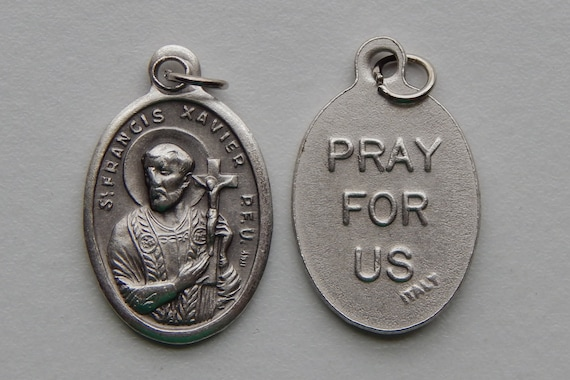 5 Patron Saint Medal Findings - St. Francis Xavier, Die Cast Silverplate, Silver Color, Oxidized Metal, Made in Italy, Charm