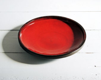 Vintage Ceramic Bowl - West German Pottery- Red and Black Dish/Plate - 60s Modern Mid-Century
