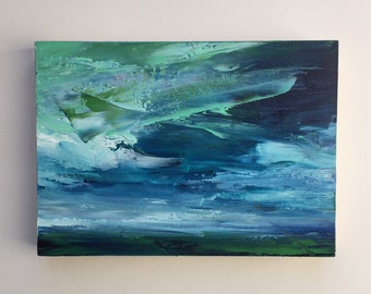 """Original 5"""" x 7"""" skyscape oil painting on cradled wood."""