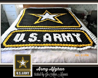 Army Afghan, C2C Graph, with Row by Row Word Chart