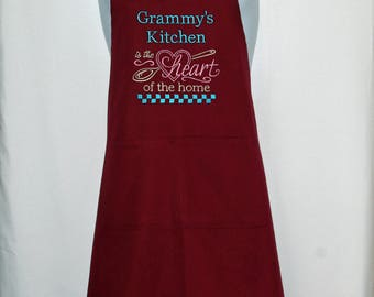 Grammy Apron, Kitchen Heart of Home, Grandparent Birthday Gift, Personalize With Grandma, Mimsy, Memere, Nina, Grans, Ships TODAY, AGFT 1309