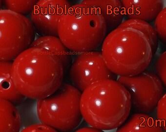 50 Red Chunky Beads -wholesale 20mm Bubblegum Chunky Beads - 20mm  Beads - Acrylic gumball beads for chunky necklace diy  jewelry