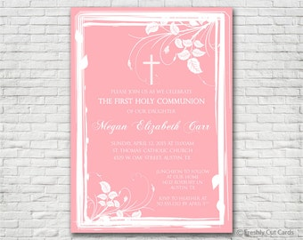 Pretty in Pink 1st Communion Invitation - Printable or Printed (w/ FREE Envelopes)