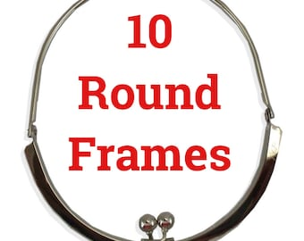 10 Round Purse Frames with Attached Handle Silvertone or Antique Gold