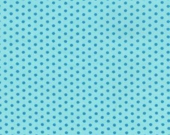 Turquoise Polka Dot Cotton Fabric -  Spot On by Robert Kaufman Fabrics - Perfect for Nursery, Clothing, and Quilts
