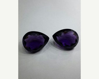 25% OFF Summer Sale 2 Pcs Matched Pair Outrageous Amethyst Quartz Faceted Pear Shaped Loose Gemstone Size 20*15 MM