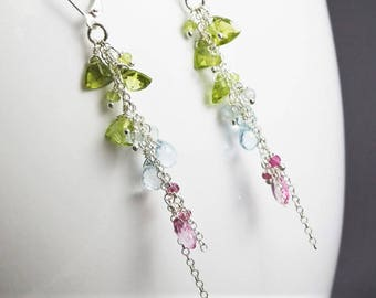 Modern artisan earrings, silver and gemstone earrings, boho jewelry, Peridot topaz pink sapphire earrings, ombre earrings
