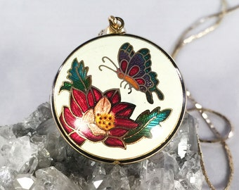 Vtg 3D Solid Puff Butterfly Flower Cloisonne Guilloche Enamel Pendant Necklace