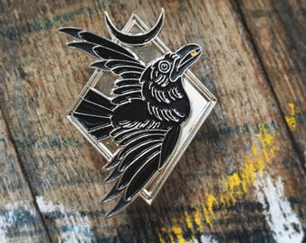 "Blackbird - 1.75"" collectible lapel pin - raven pin - The Familiar collection"