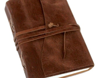 Vintage Genuine Crazy-Horse II Leather Journal (Handmade) - Leather Cord Coptic Bound and leather tie closure