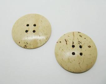 Set of 2 large round buttons coconut 5 colors-beige ref 7 cm
