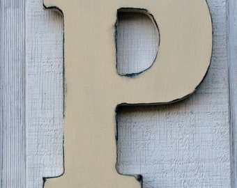 """Rustic Large Wooden Letter P Distressed Painted Buttermilk,12"""" tall Wood Name Letters, Custom Wedding Gift Shabby chic"""