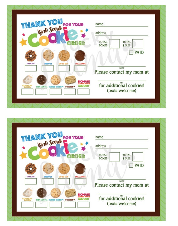 Girl Scout Cookie Thank Youorder Formreceipt Printable