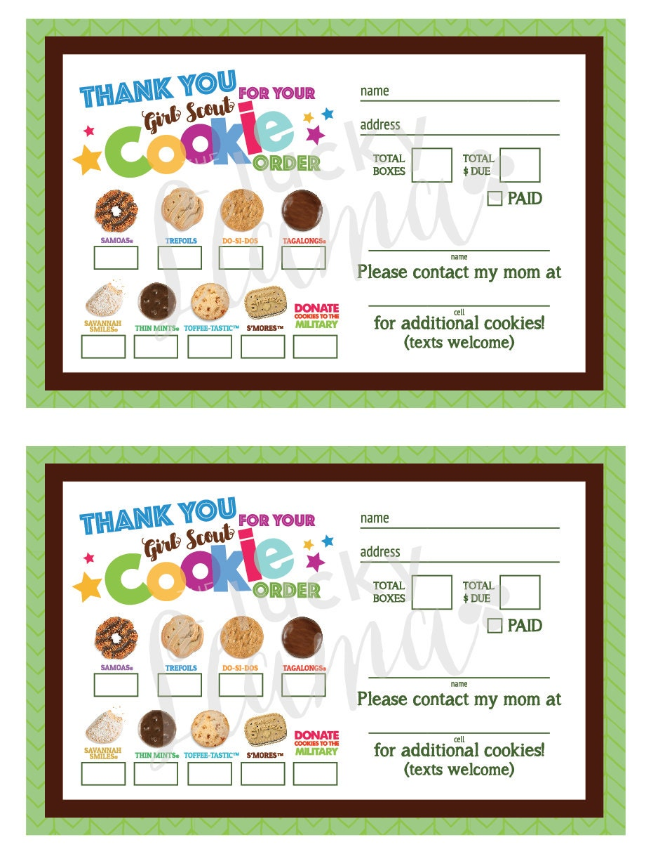 This is an image of Zany Girl Scout Cookie Order Form Printable 2020