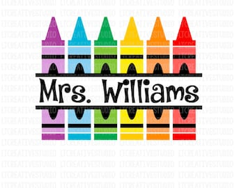Crayon Split Monogram Svg, Crayons SVG, Crayon Svg, School SVG, SVG Files, Silhouette Files, Cricut Files, Back To School Cutting Files