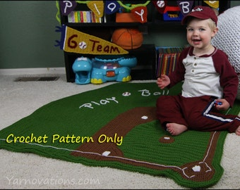 Baseball Diamond Baby Blanket Only - CROCHET PATTERN