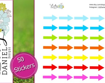 50 Straight Arrows Arrow Planner Stickers for Erin Condren Life Planner (ECLP) Reminder Sticker LDD1102