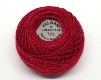 Valdani Pearl Cotton Thread Size 8 Solid: #775 Turkey Red
