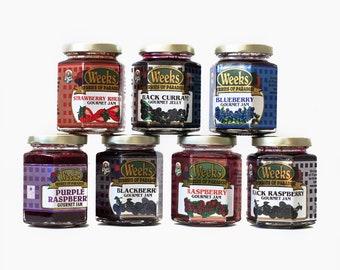 Gourmet Jam - Black Currant, Raspberry, Blackberry, Purple Raspberry, Black Raspberry, Strawberry Rhubarb, Blueberry