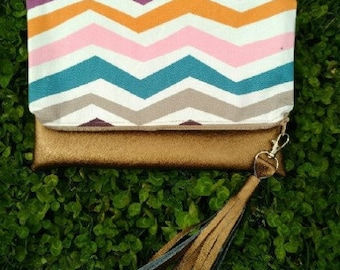 Multi-colored Zig-Zags and Copper Faux Leather Clutch with Tassel