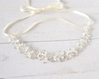 Bridal Hair Accessories, Wedding Headband, Pearl Cluster Hair Vine, Boho Flower Leaf Headpiece, Vintage Style Bridal Hair Jewelry, MELISSA