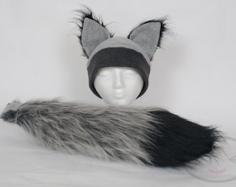Furry Ear Grey Wolf Hat and/or Tail Set - FIRST CLASS SHIPPING