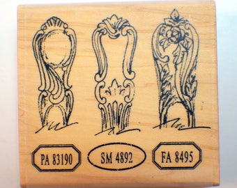 Stampington And Co Wooden Rubber Stamp Spoon Handles Dinner Cutlerly