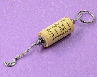 Silver Moon Wine Cork Keychain Key Ring Fob #K122